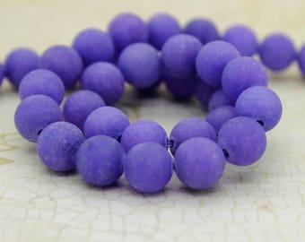 Dye Agate (Indigo) Matte Round Gemstone Beads