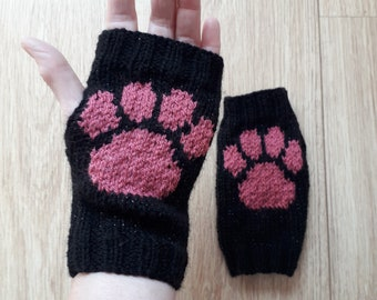Paw print sparkle wrist warmers - dog cat wolf - fingerless gloves