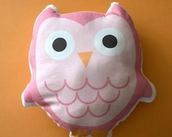 Owl Pillow, Owl Nursery Pillow, Kids Pillow, Woodland Toy, Pink Owl Plush, Owl Pillow Doll, Woodland Owl Pillow