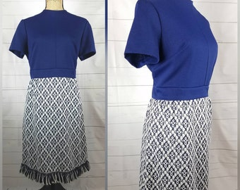 Vintage 1960s Tapestry Scooter Dress; White, Navy, and Royal Blue Dress