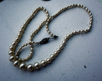 Vintage Faux Pearl Necklace - Sterling Silver Clasp.