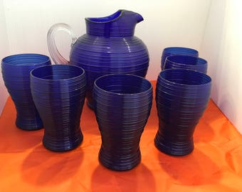 Vintage Imperial  Spun Cobalt (Ritz) Pitcher and Tumbler Set