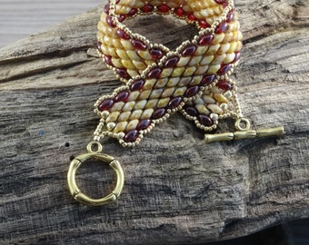 Superduo bracelet with seed beads and toggle clasp fastener Made to order