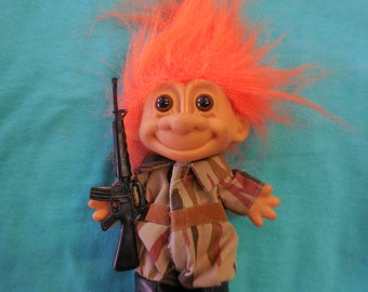 90s Military 5 inchTroll Figure Doll Army Armed Forces Vintage 1990s