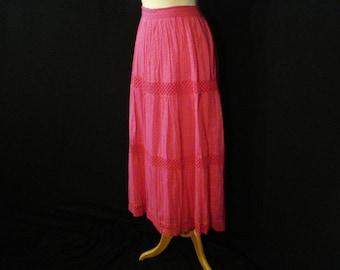 Long Maxi Skirt Vintage St Johns Bay Boho Chic Hot Pink Cotton Skirt ML