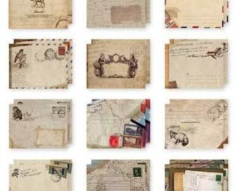 SET of 12 MINI envelopes VINTAGE STYLE EUROPEAN VINTAGE SCRAPBOOKING 95 x 72 mm