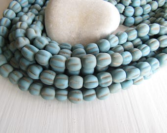 turquoise  melon glass lampwork beads, blue opaque  melon wavy rustic  aged look , indonesian  9 to 11mm  ( 12 beads) 7ab49-1