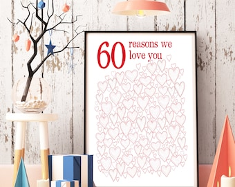 60th Birthday PRINTABLES - 60th Anniversary Gift, Party Decorations, 60th Birthday Gift, Gift for Mom, Poster, 60 Anniversary, For Women