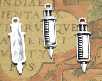 20pcs needle Charms silver tone medical needle Charms pendant 30x9mm ASD2542