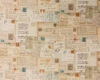 Vintage/ Antique Style Hand written Letters, Envelopes and Postcards on 100% Cotton Patchwork Craft Fabric