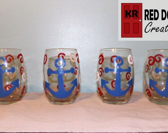 Nautical Wine Glasses - set of 4