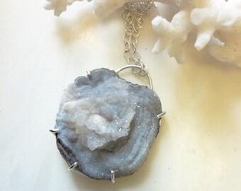 Chalcedony Desert Rose Druzy Pendant, Sterling Silver Prong-Set, Quartz Crystal Necklace, Modern Minimal, Healing Energy Stone, OOAK