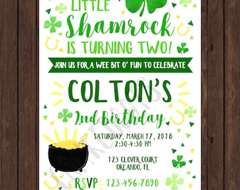 Watercolor Shamrock St. Patrick's Day Birthday or Baby Invite