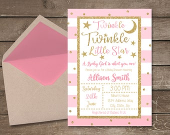 Twinkle Twinkle Little Star Baby Shower Invitation, Twinkle Twinkle Shower Invite, Twinkle Baby Shower, Star Baby Shower, Twinkle Invitation