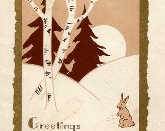 Vintage Art Deco rabbit bunny Christmas greetings card digital download printable instant image