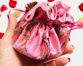 Pink & gold floral Crystal Jewelry Travel Pouch