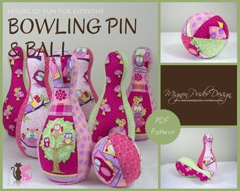 Bowling Pin & Ball soft toy game ~ sewing e-Pattern