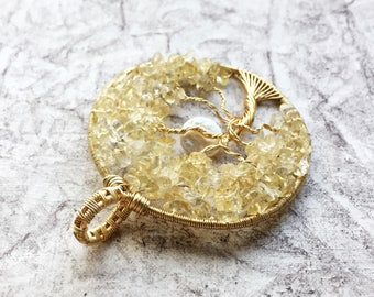 Citrine tree of life pendant, november birthday gift, june baby treat, mothers day necklace, yellow statement necklace, pearl pendant for me