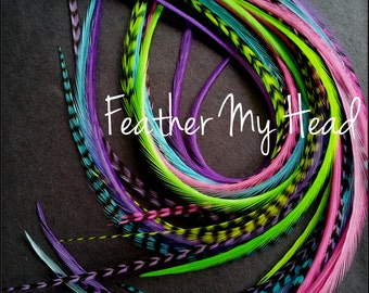 16 Long Feather Hair Extensions 9-12 In (23-28cm) Premium Whiting - Pixie Dust - Pink Green Blue Purple - No Beads