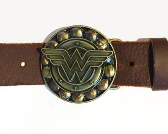 Antique Bronze Wonder Woman Shield Buckle and Belt Strap