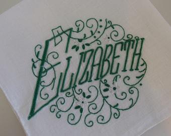 "Vintage Green Monogrammed ""Elizabeth"" Hankie Hanky | Vintage Ladies Cotton Linen Handkerchief | Green Monogram Elizabeth Hanky"