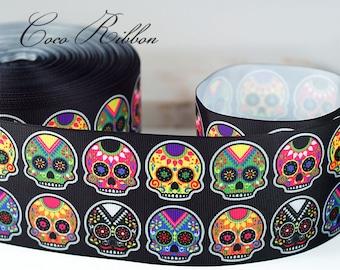 "3 yards 3"" 75mm Sugar Skull Mexican Tattoo Day of the Dead Grosgrain Ribbon"