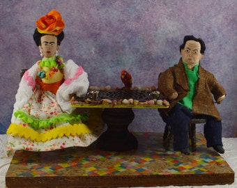 Frida and Diego - Diorama Art- Miniature Scene- Hispanic Artists- Mexican Culture
