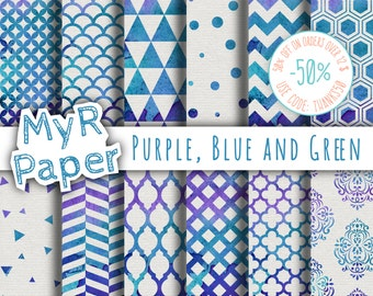 "Watercolor Digital Paper: ""Purple, Blue and Green"" for scrapbooking, invite, card – damask, triangles, dots, chevron, hexagons"