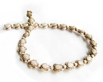 Imitate White Turquoise Carved Longeivty Turtle Beads One-Strand  ja483