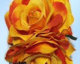 Double Sunset Rose Flower Clip