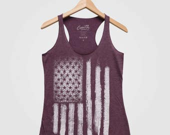 4th of JULY AMERICAN FLAG, Women Tank Top, Triblend Racerback Tank Top, Hand Screen Print