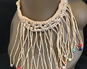 Vintage Necklace Boho Choker Macrame Necklace with Dangling Beads Hippie Retro Fashion SALE PRICE was 19.00 now 12.00