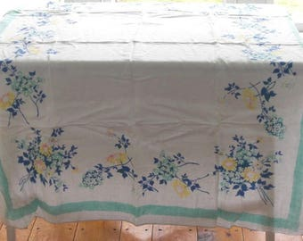 Vintage Floral Tablecloth Aqua Border