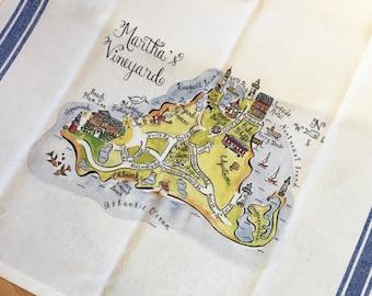 Martha's Vineyard Map Kitchen Tea Towel