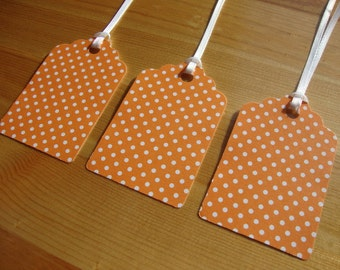 Orange Polka Dot Tags - Qty: 12 - Treat Tags - Gift Tags - Hang Tags