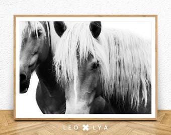 Horse Print, Horse Wall Art, Black And White, Horse Photo, Minimal Poster