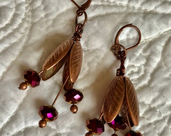 Floral Earrings Copper Wires Aubergine Facets
