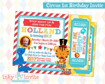 Circus 1st Birthday Invite | 1st Birthday Carnival Party Ticket Invitation, Printable, Picture Invitation