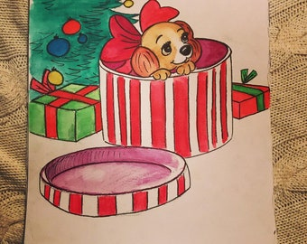 Christmas themed A4 Watercolour Painting