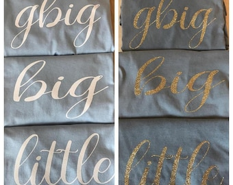 Big/Little Reveal Tee with vinyl (shown in light blue shirt with black vinyl)
