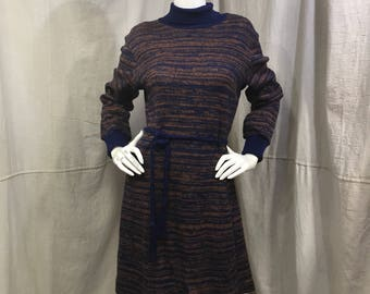 70s Sweater Dress Space Dyed // Long Sleeve Cowl Dress 1970s Vicky Vaughn