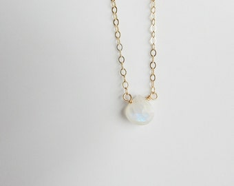 14K Gold filled and moonstone  faceted heart necklace ,  gemstone necklace, dainty and minimalist necklace