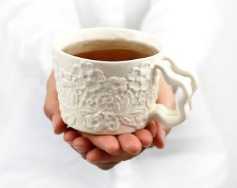 Handmade Ceramic Mug.White Porcelain Lace Cup. Tea Coffee Dainty Mug. Stoneware Lace Mug. White Romantic Clay Mug design by CONCEPTstudio.