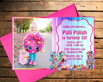 Downloadable Shopkins Themed Birthday Invitation with Photo