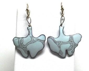Blue Ginko Leaf Enamel Earrings with Swirling japanese water pattern