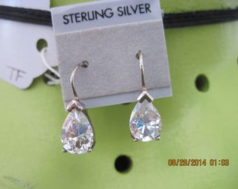 Handmade Sterling Silver & CZ Faceted Pear Shape Dangle Earrings..1122h Wedding/Special/Everyday..Elegant Jewelry,Gifts 4 Her