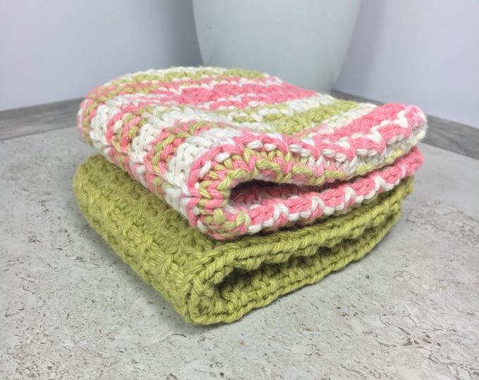 hand knitted green and pink cotton dishcloth set - ready to ship - housewarming gift - kitchen towels - boho kitchen - knit dishcloth set