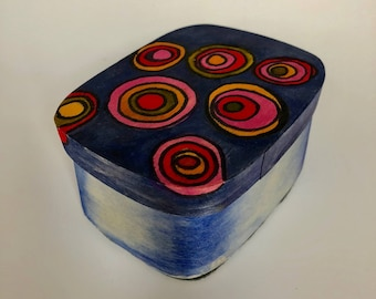 Rectangular wood box with watercolor hand painted concentric circles