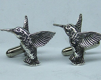 Hummingbird Cufflinks in Solid Sterling Silver Free Shipping