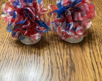 Red white and blue fabric flower baby barefoot sandals